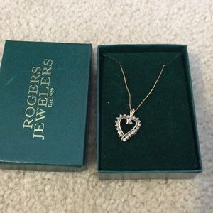 Jewelry - 14k gold heart, diamond necklace